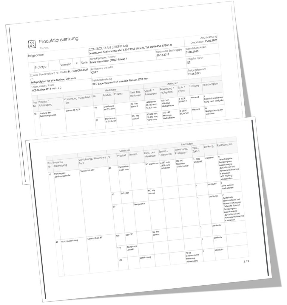 Erstellen Sie Ihre Dokumentation Idealerweise Control Plan im PDF, Excel oder Word Export.