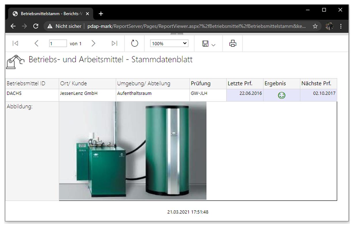 Prüf- und Betriebsmittel: browserbasierter Prüfmittelbericht